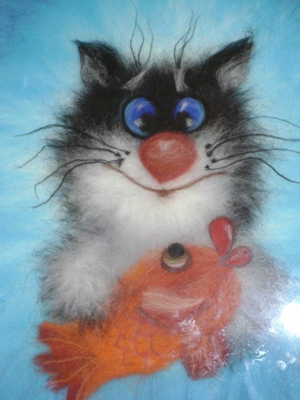 Кот из шерсти картина